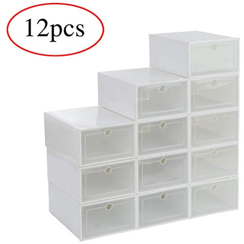 5Pcs Shoes Storage Box Stackable Foldable Plastic Shoes Holder Cabinet Transparent Shoes Organizer Case Clear Drawer (White)