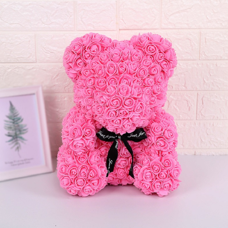 Navy Blue Luxury Rose Teddy Bear with Gifts Box & LED Lights