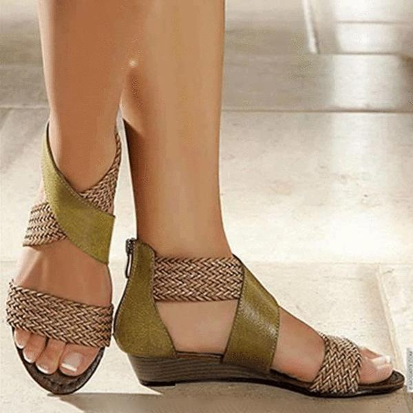 Faddishshoes Women's Casual Colorblock Woven Sandals