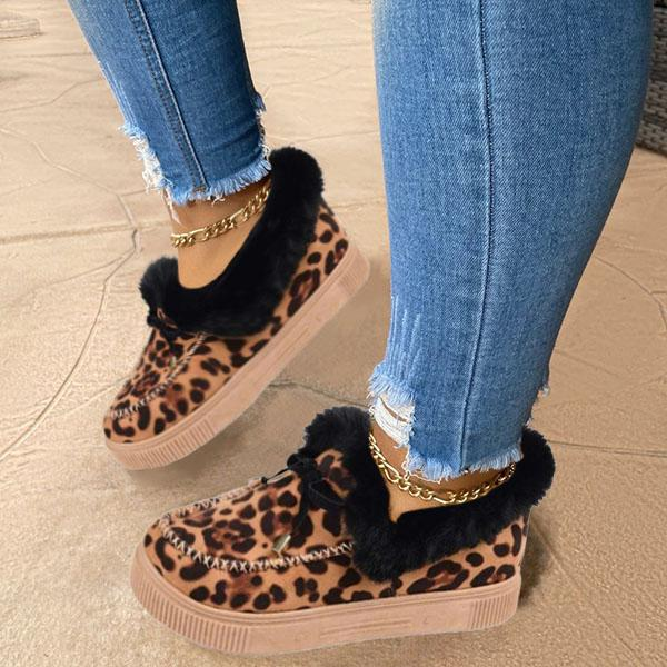 Faddishshoes Casual Fashion Leopard Moccasins