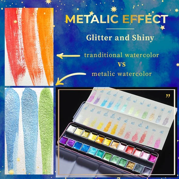 Last Day Promotion 50% OFF-High-Metallic Watercolor Set