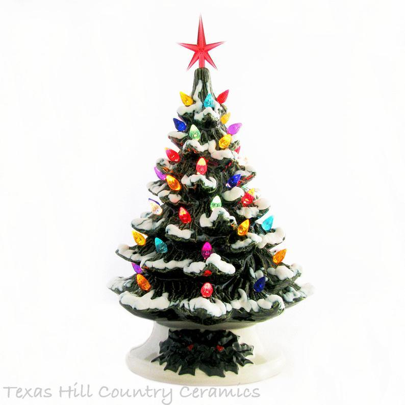 Wishing for Falling Snow Ceramic Christmas Tree 11 1/2 Inch Tall Electric Lighted Tabletop Style Holiday Tree with Detailed Holly Base