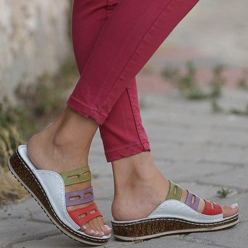 Chic Three-color Stitching Sandals for Women