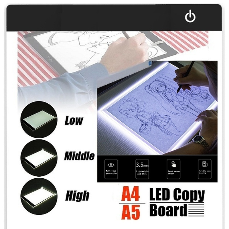 A4 A5 LED Light Pad Artist Light Box Table Tracing Drawing Board Pad Diamond Painting Embroidery Tools