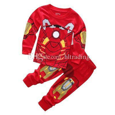 Baby Superhero Pajamas Children Avenger Iron Man Captain America Long Sleeves Tops+Trousers 2pcs/sets Outfits Kids Clothing sets M246
