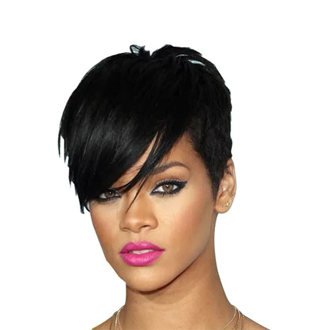 Luna Short Layered Straight Cropped Wig for Black Women