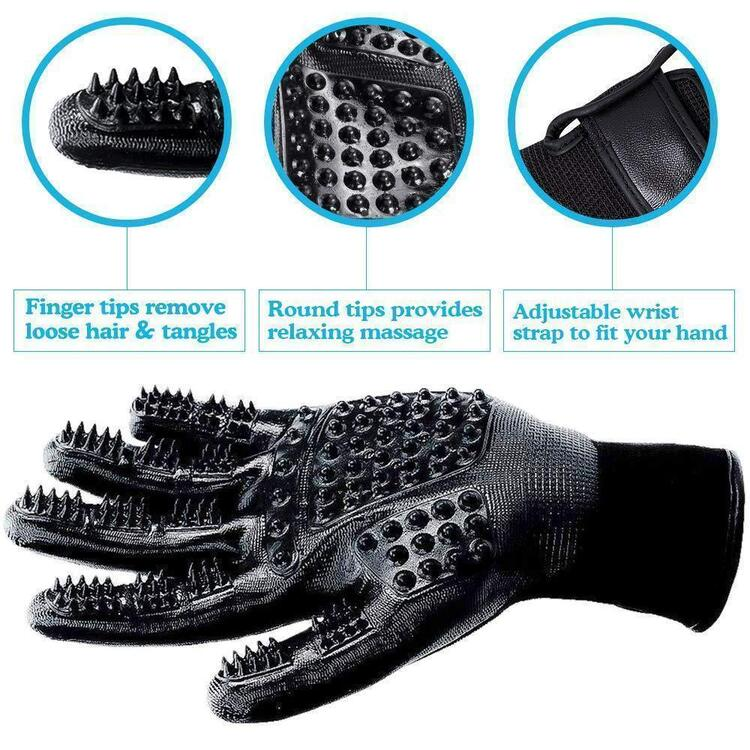 Pet Grooming Gloves For Cats, Dogs & Horses--( 1 pair )