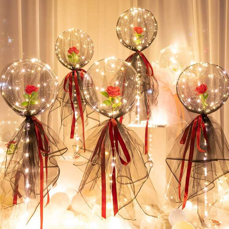 (Only $9.9🔥Big sale before Valentine's Day-50% Off)LED Luminous Balloon Rose Bouquet