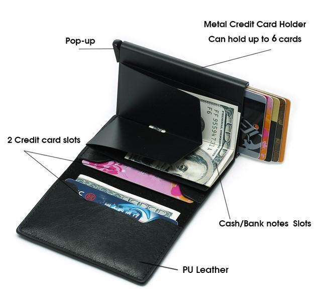 Auto Pop-up Leather Card Wallet