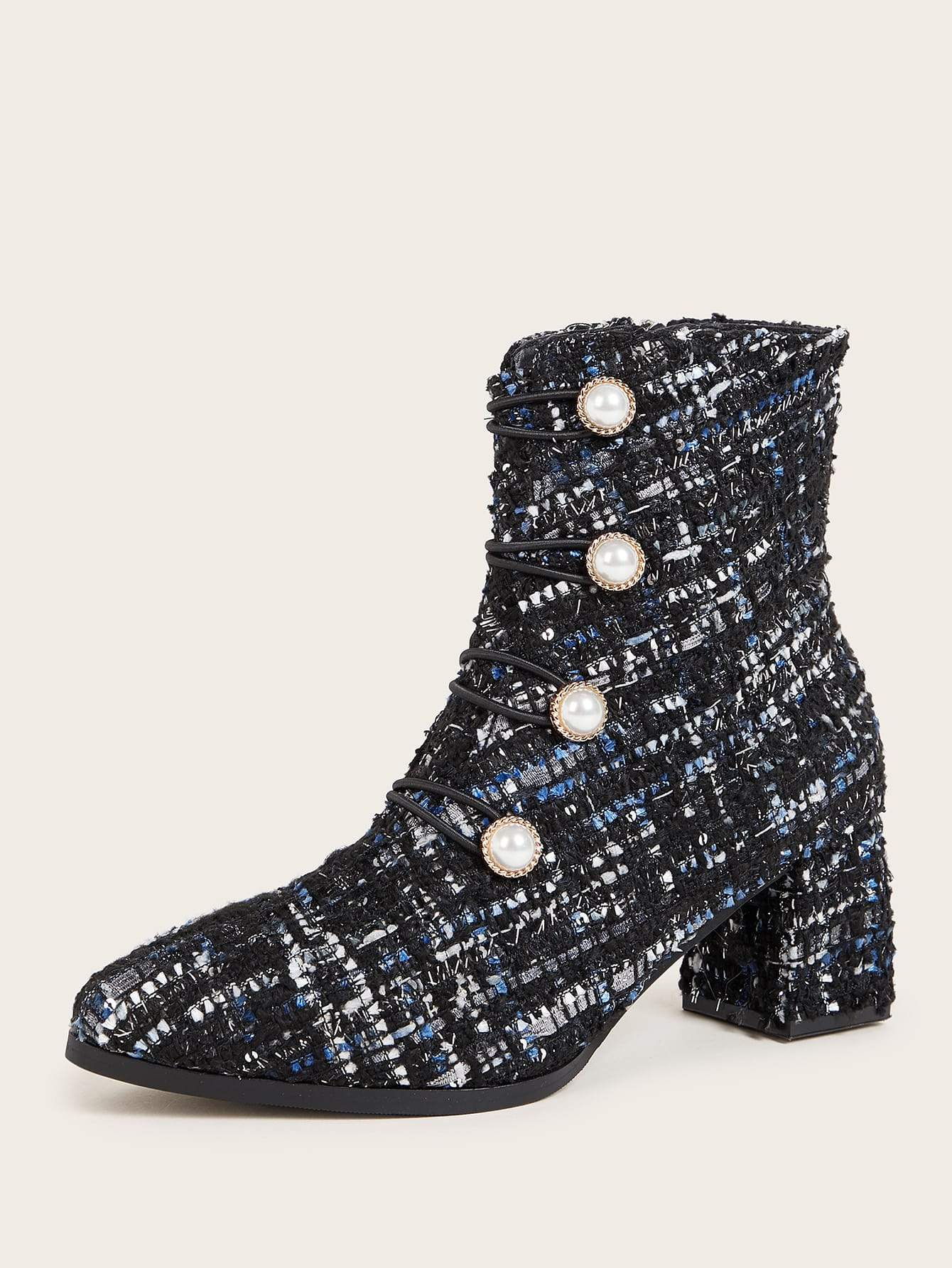 Pearl Decor Tweed Chunky Boots