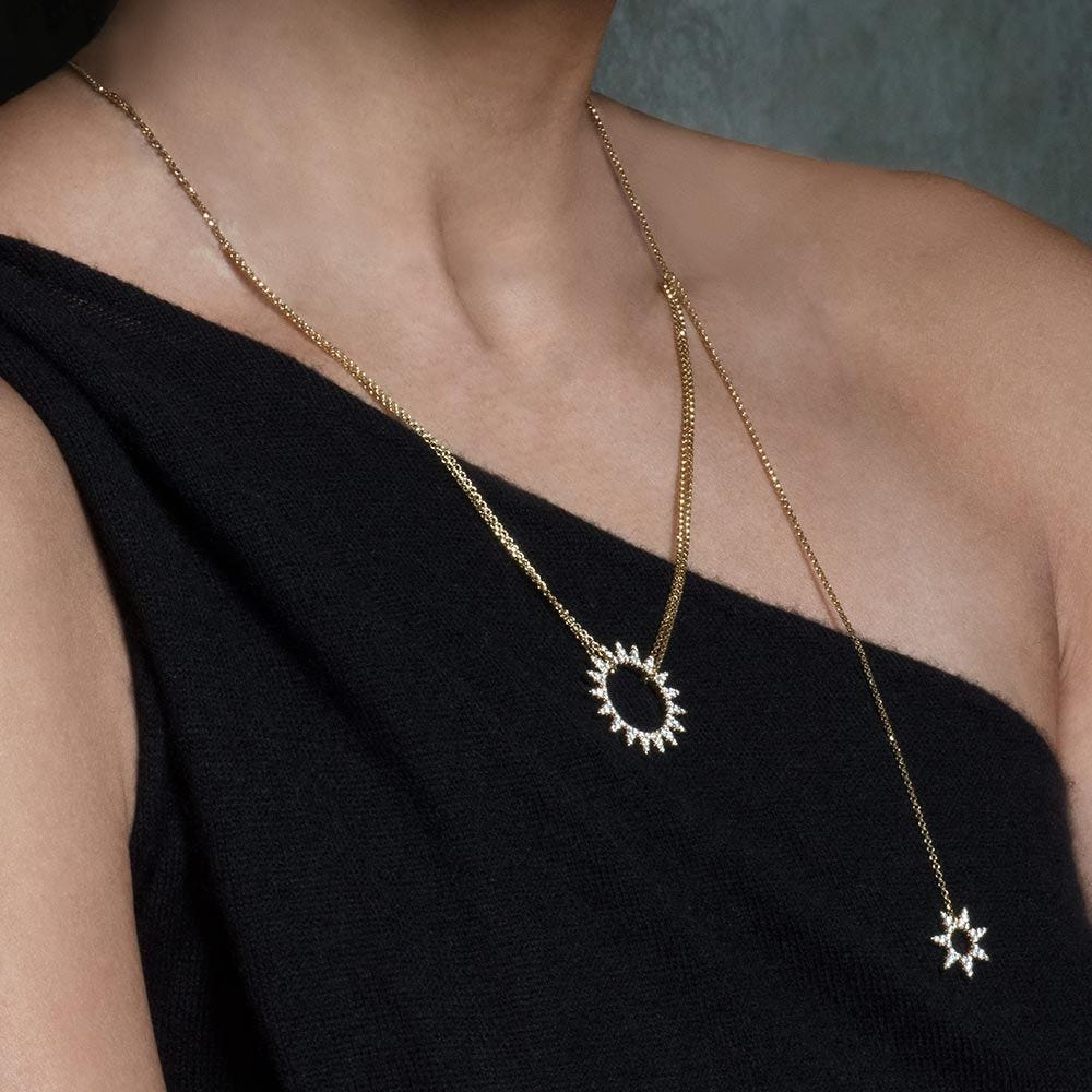 Adjustable Necklace With Double Sun Pendants