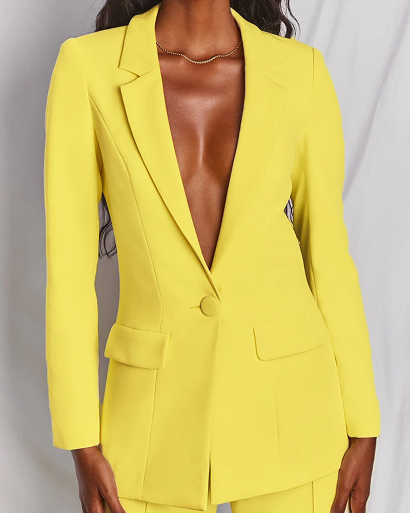 Fashion Casual Solid Color Lapel Blazer Two-Piece Suit