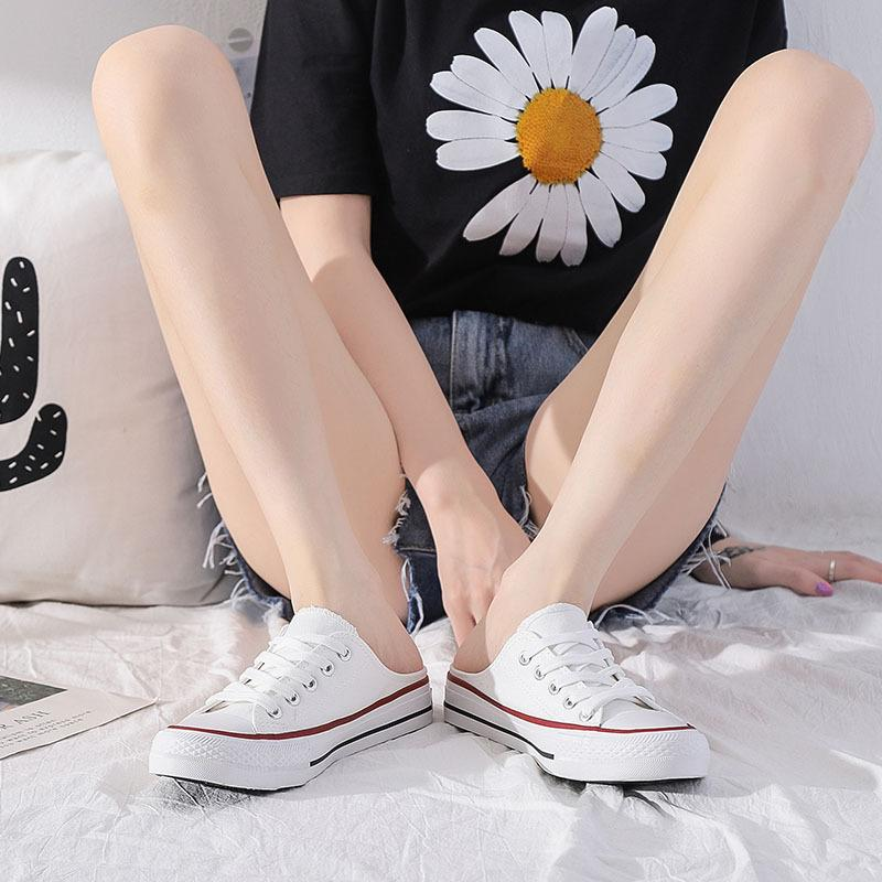 2020 Summer new canvas shoes women's Korean style casual half-mop cloth shoes