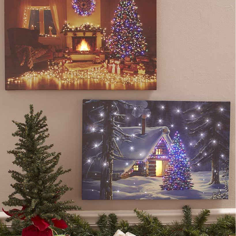 Fiber-Optic Holiday Canvas Wall Art