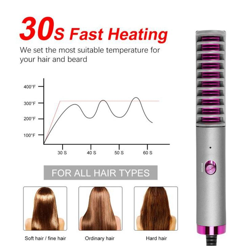 Straightening Brush for Hair and Beard 30s Fast Heating