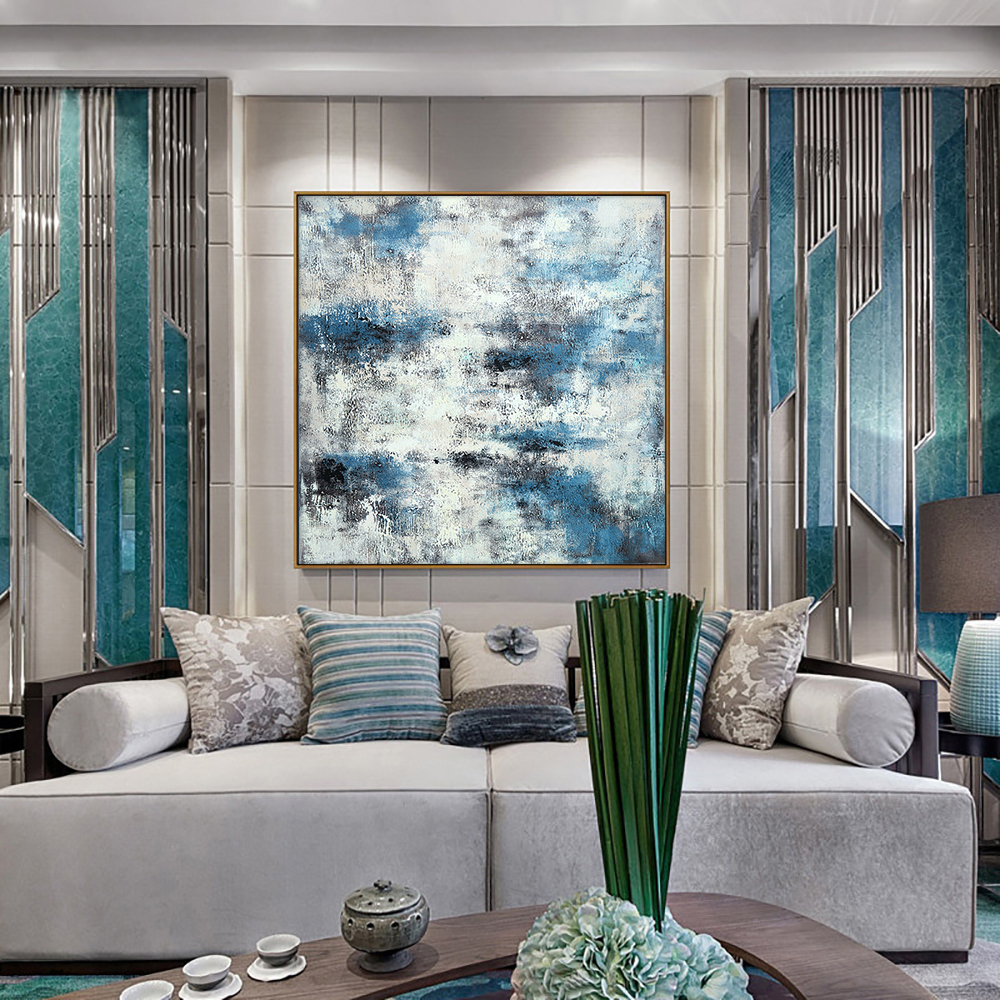 100% Hand Painted Blue Abstract Landscape Oil Painting On Canvas Wall Art Modern Wall Art For Living Room Home Decoration