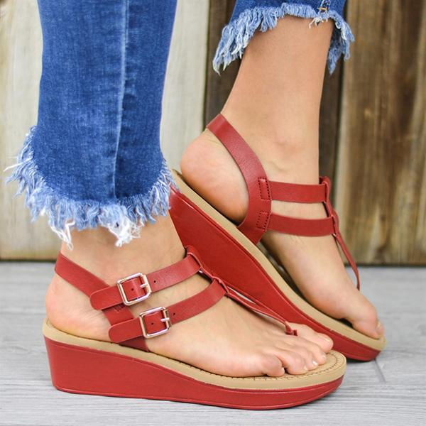 Faddishshoes Adjustable Buckle T-Strap Wedge Sandals