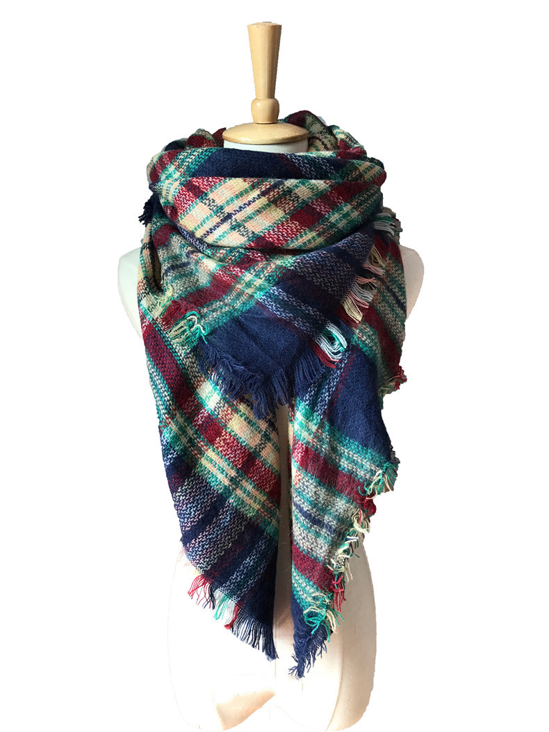 Winter cashmere imitation double-sided colorful plaid scarf scarf women's shawl