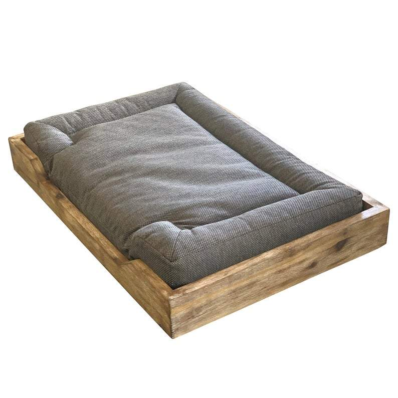 Medium Washed Oak Pet Bed, Orthopedic Mattress, Carved Legs (Farm House Style)