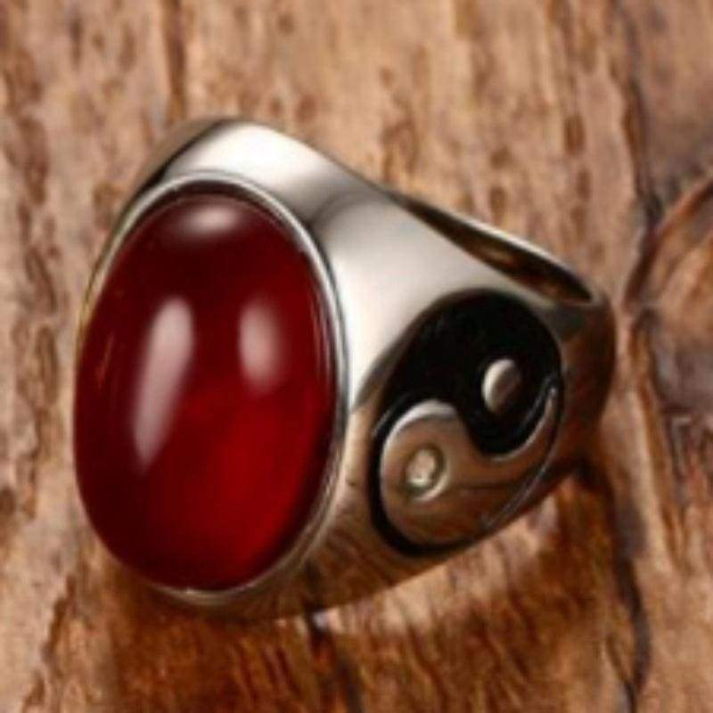 Retro Boy Oval Brown Natural Wood Ring Yin Yang Symbol Ring Stainless Steel Jewelry Men's Accessories