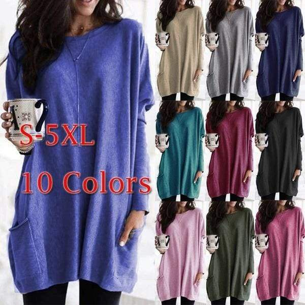 2020 New Womens Long Sleeves Round Neck Fashion Pullovers Tunics Solid Color Plus Size Pocketed Casual Tops