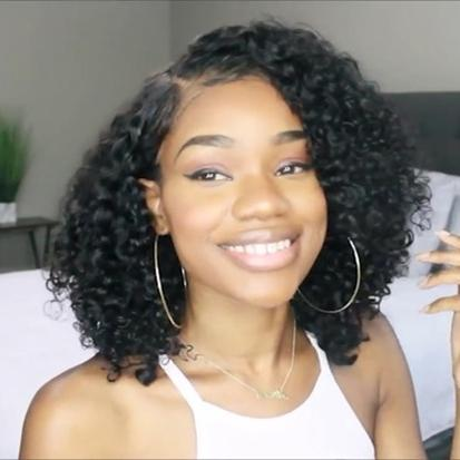 New Fashion Summer Glueless Basic Cap Lace Frontal Short Curly Wig