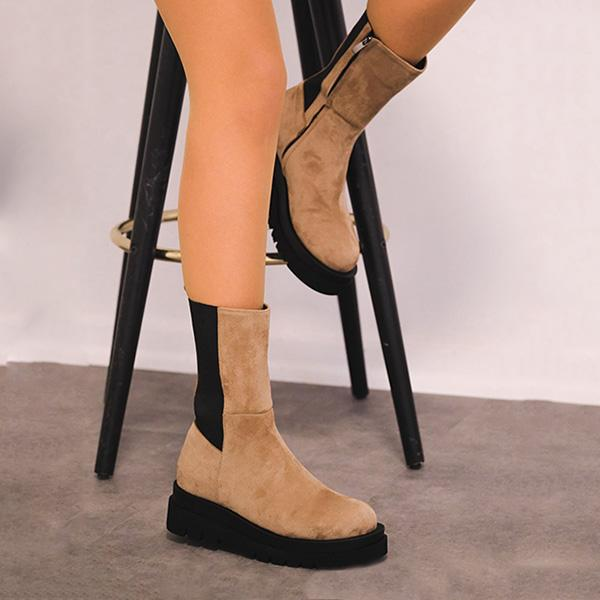 Faddishshoes Suede Rubber Thick Soled High Boots