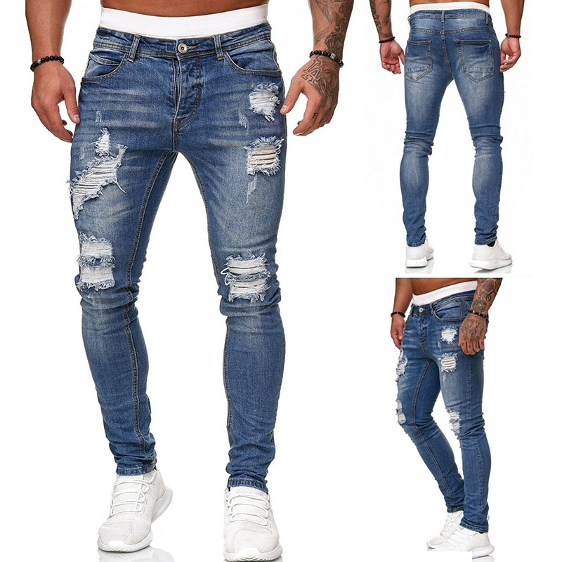 Fashion Men's New  Skinny Jeans Casual Ripped Hole Jeans Slim Pencil Long Pant
