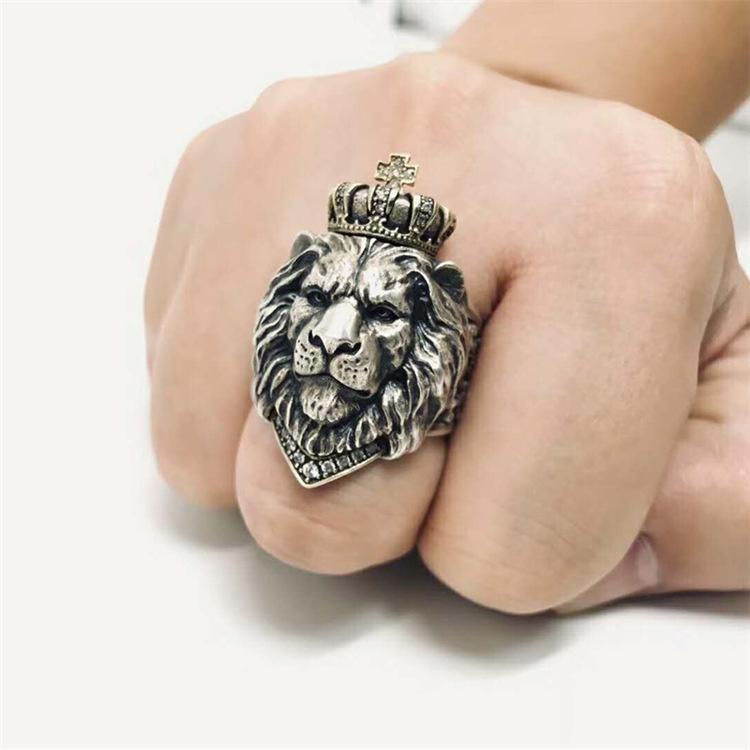 Men's Vintage Lion King Crown Ring 925 Silver Fashion Open Middle Finger Ring Diamond Jewelry Cool Boy Punk Nightclub Party King Jewelry Silver Ring