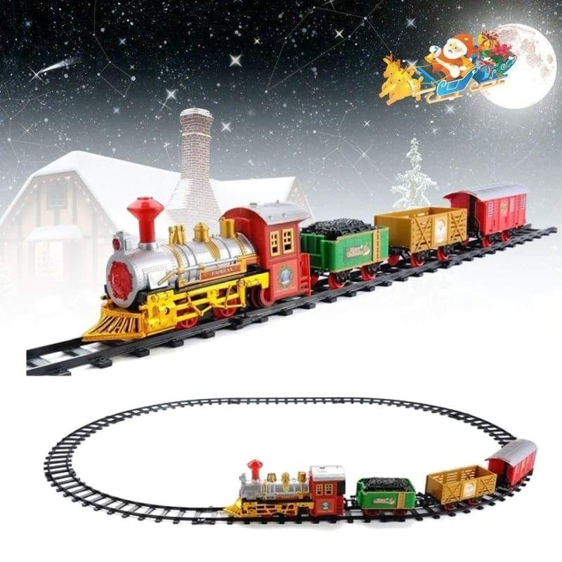 2 Style Musical Christmas Train Carriages Tree Headlight Tracks Birthday Gift Kids Toy Set Educational Toys Games
