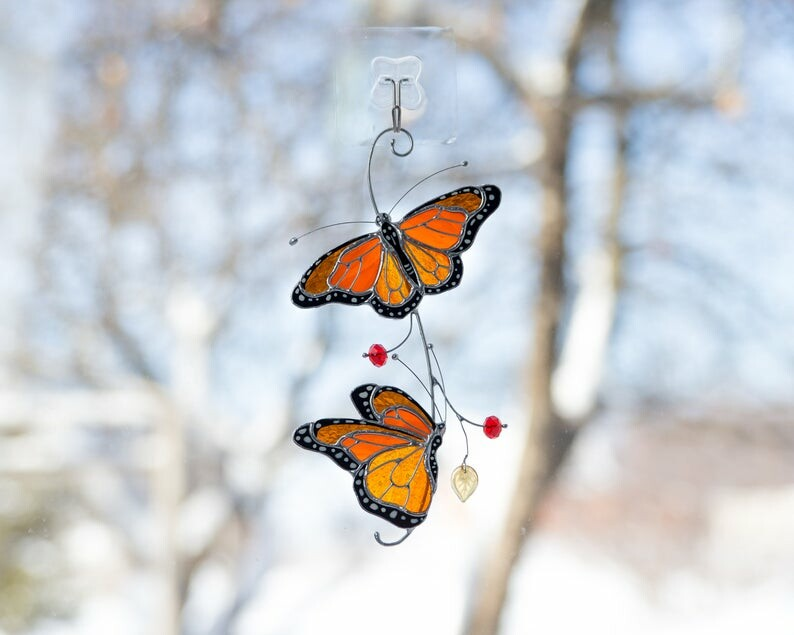 Stained monarch butterfly glass window decor