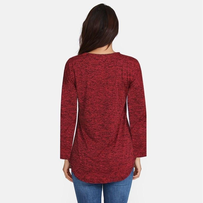 Women Fashion Sexy Solid Color V Neck Zipper Long Sleeve Shirt Top