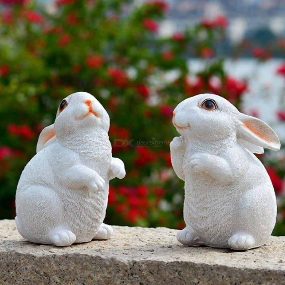 2PCS Resin Rabbit Micro Landscape Ornament Fairy Tale Garden DIY Miniature Decoration Animal Toy Gift