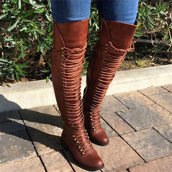 Twinklemoda Camel Pu Cross Strap Block Heel Knee High Boots