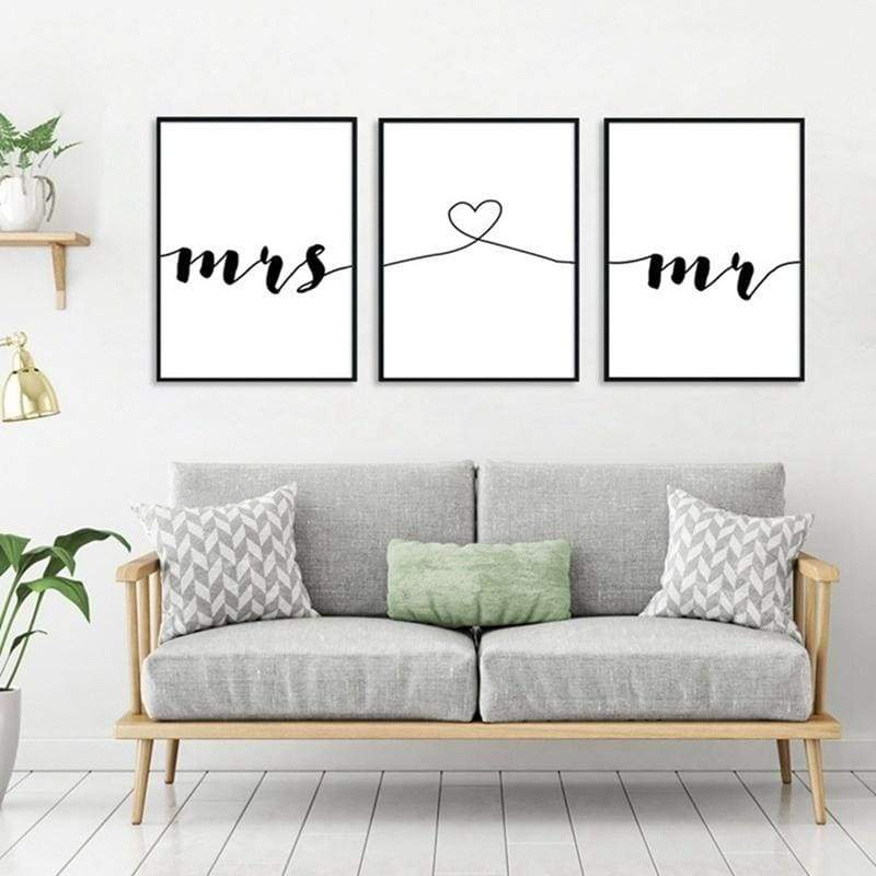 Unframed Black And White Minimalist Mrs Mr Love Heart Posters Print Couple Quotes Canvas Painting Wall Art For Living Room Home Decor No Frame