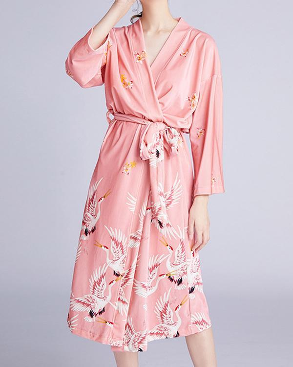 Crane Skirt Nightgown Mid-thick Pajamas