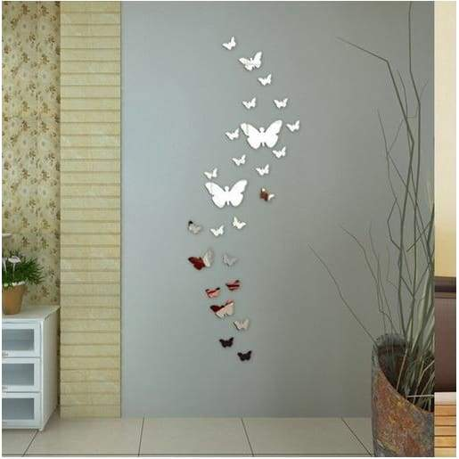 12pcs Decorative Mirror 3D Butterfly Wall Decor Poster Vintage Mirror Wall Stikers