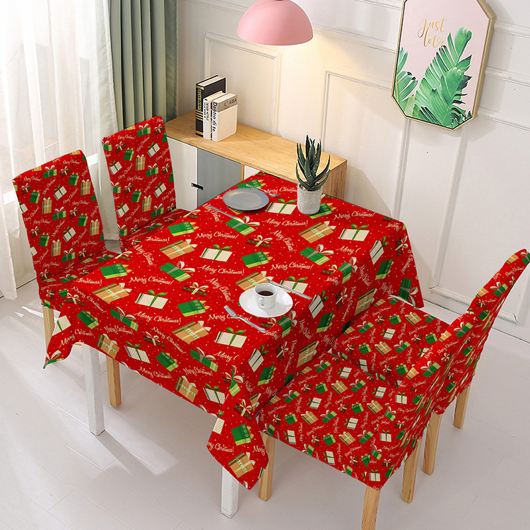 Christmas Ribbons Engineered Printed Fabric Tablecloth