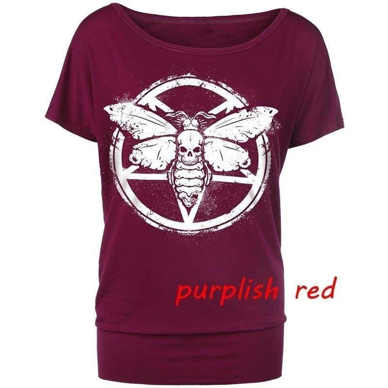 Summer Women New Fashion Short Sleeves Off Shoulder Skull Print Loose Cotton Casual T-shirts