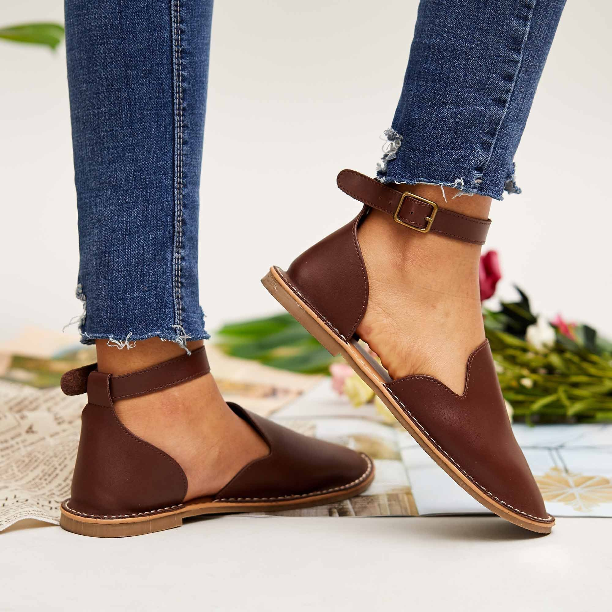 Faddishshoes Women Casual Slip On Ankle Buckle Flats