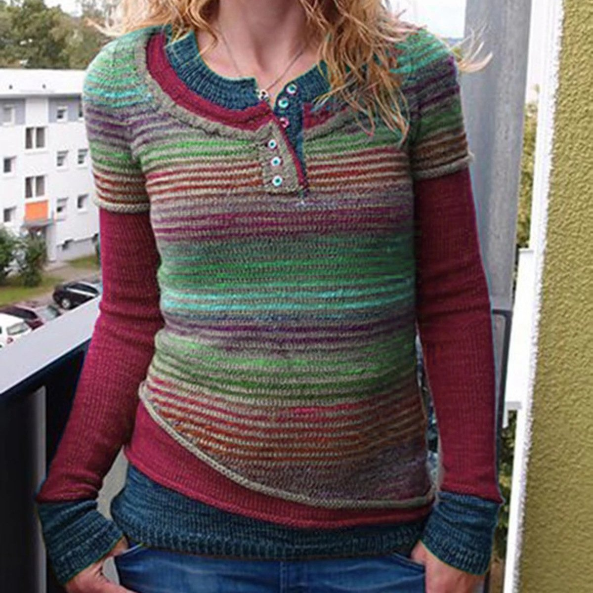 Contrast Stripes Casual Solid Color Sweater
