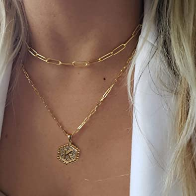 14K Gold Plated Paper Clip Chain Necklace Simple and Cute Hexagonal Letter Pendant Initial Necklace