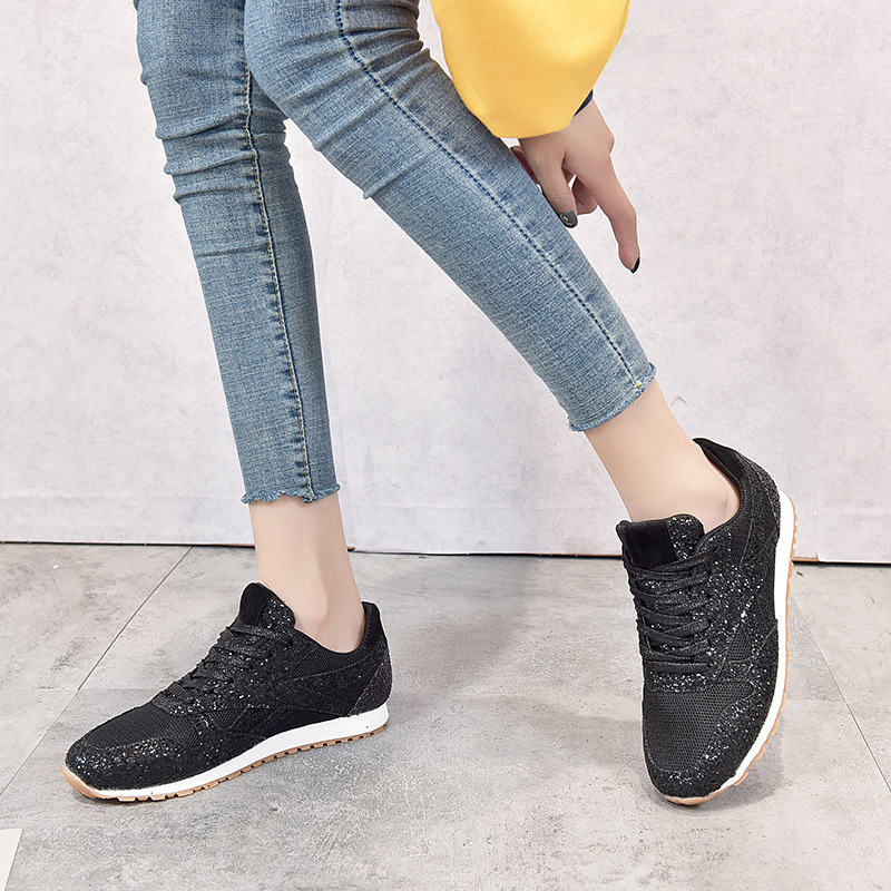 Spring Women Flat Bling Sneakers Casual Vulcanized Shoes Female Mesh Lace Up Ladies Platform Comfortable Fashion Shoes