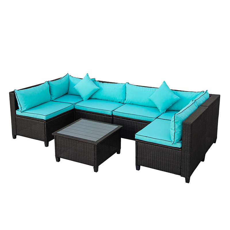 Buyonhome U-style Quality Wicker Patio Set, U-Shape Sectional Outdoor Furniture Set with Cushions and Accent Pillows Blue