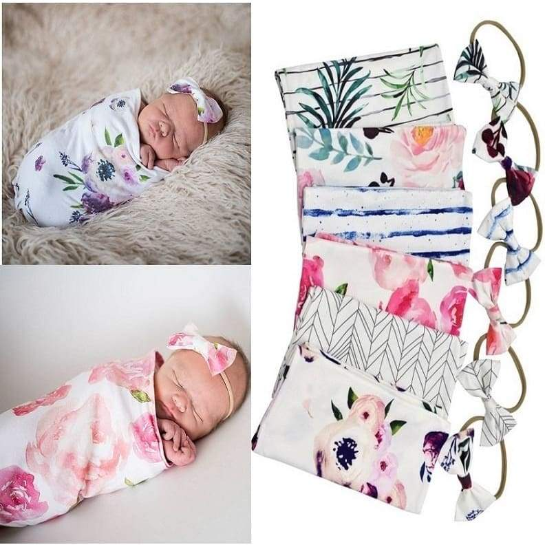 Soft Stretchable Baby Sleep Sack Baby Sleeping Bag Newborn Sage Swaddle with Matching Bow Headband (0-2 months baby)