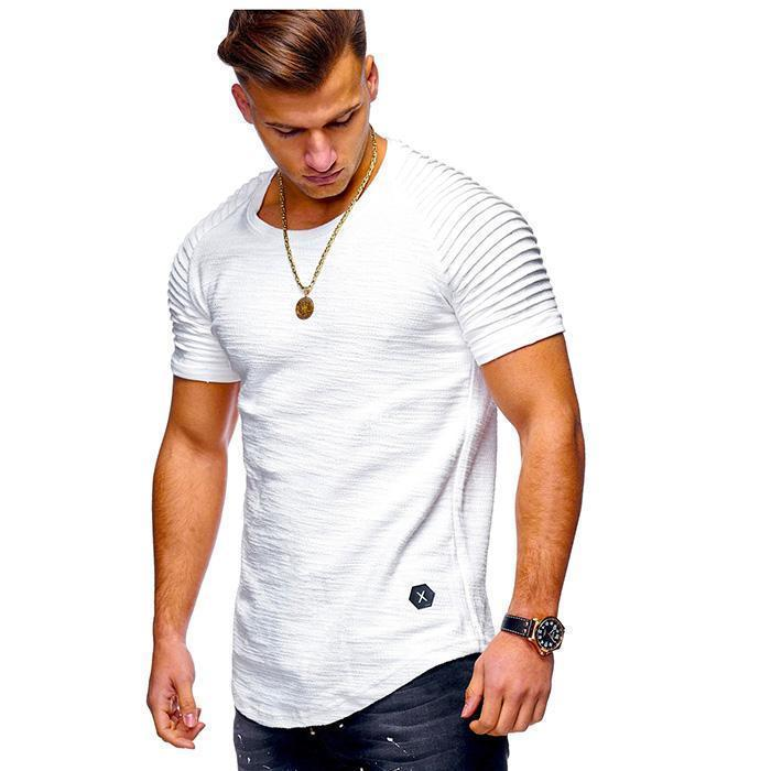 70% OFF-Solid Color Stripe Slim Fitness Men's T-shirt