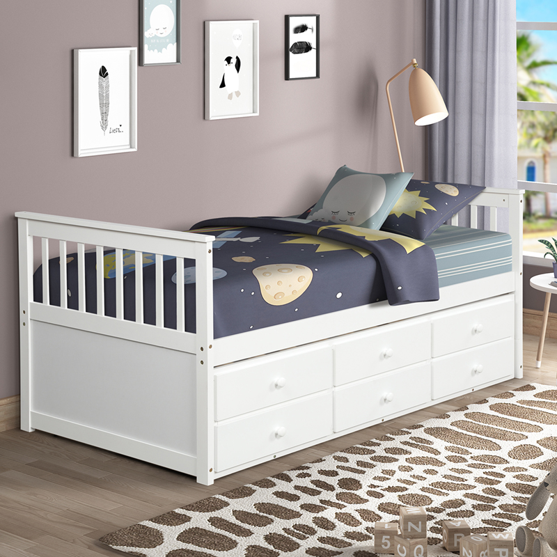 Buyonhome Captain's Bed Twin Daybed with Trundle Bed and Storage Drawers
