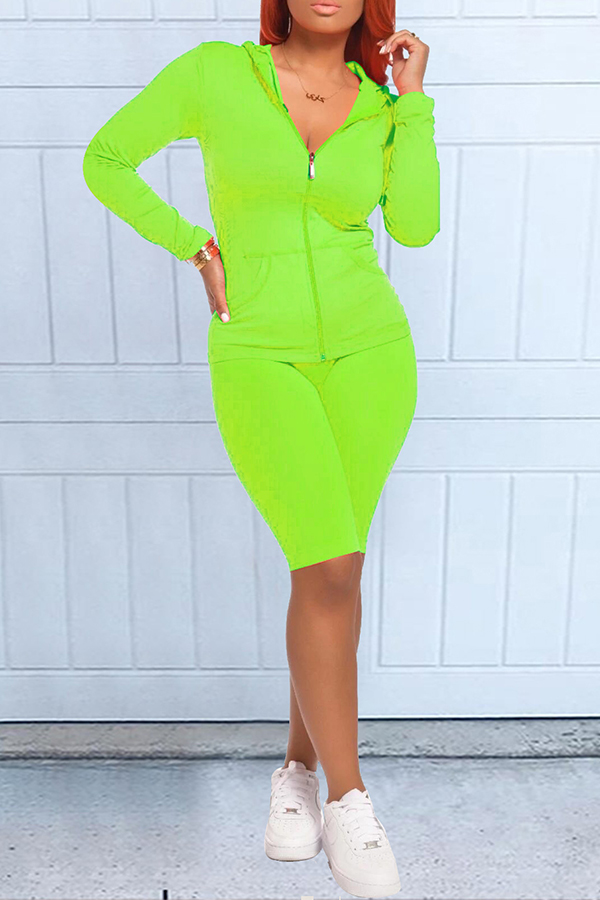 Solid Color Hooded Sporty Set