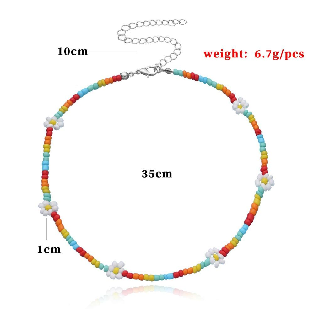 Colorful Flower Beaded Clavicle Chain Necklace