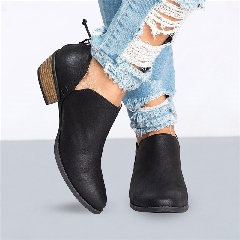 Women's Fashion Autumn Solid Ankle Boots Cut-out Low Chunky Heel Round Toe Back Zipper Casual Short Boots 5.5-10.5